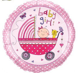 Folienballon rosa Baby Girl Kinderwagen