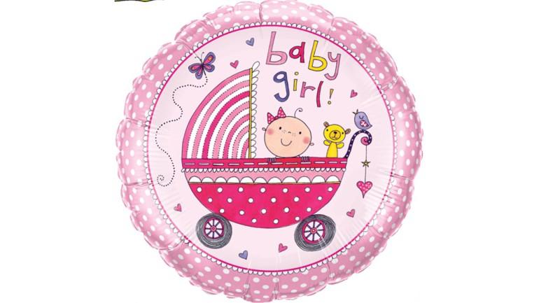 Folienballon rosa Baby Girl Kinderwagen