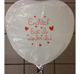 Folienballon weiß Endlich bist du wieder da