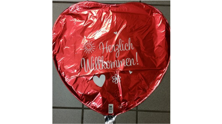 Folienballon rot Herzlich willkommen