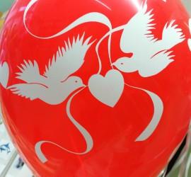 Latexballon rot Hochzeit Tauben Herz