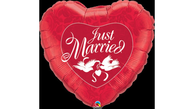 Folienherz Just Married rot