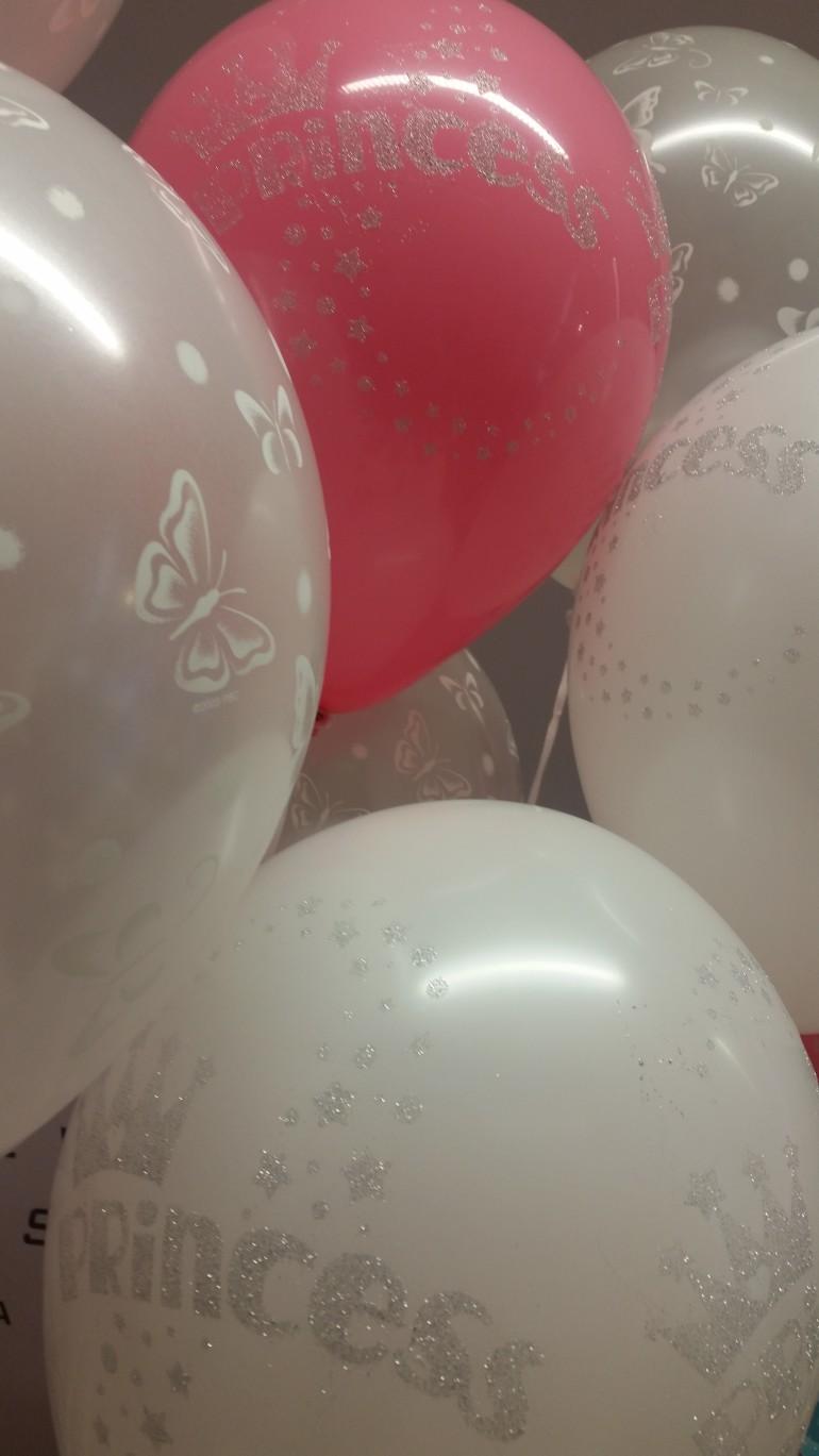 Latexballons weiß und rosa Princess