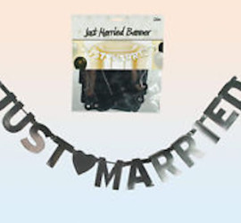 Partyartikel - Banner Just Married in silber