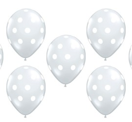 durchsichtiger Ballon mit weißen Punkten
