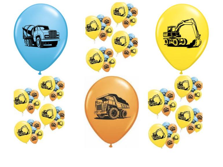 bunte Latexballos mit Baufahrzeugen