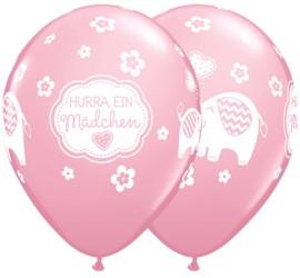 Latexballon Hurra ein Mädchen