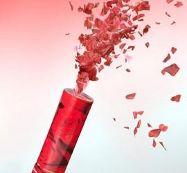 Konfettikanone rote Rosenblätter
