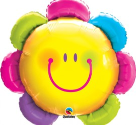 Folienballon bunte Smileyblume