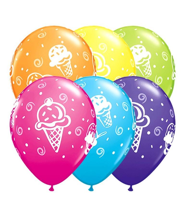 bunte Latexballons mit Eismotiven