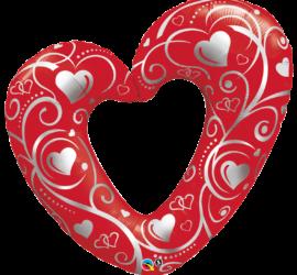 riesiges rotes Folienherz mit silbernen Herzen
