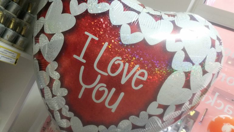 Folienherz `I Love You´ - 90 cm groß - glitzernd