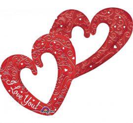 Herzen in sich verschlungen - rot - 90 cm - Folie