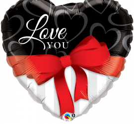 Love youLove you - 90 cm großes Folienherz - rot/schwarz/weiß