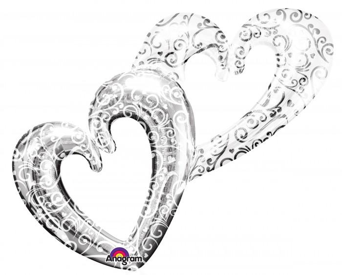 Herzen in sich verschlungen - silberfarben - 90 cm - Folie