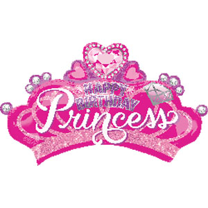 Happy Birthday Princess - Prinzessinnenkrone - Folienballon 90 cm - pink