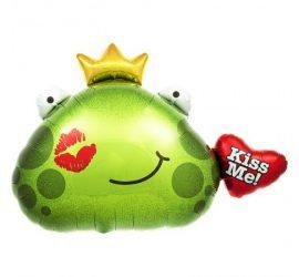 Folienballon Froschkönig mit Herz Kiss Me!