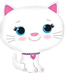 Folienballon Katze Weiß mit Rosafarbenen Herz Halsband