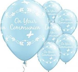 Erstkommunion - blauer Latexballon mit Schmetterlingen - on your communion