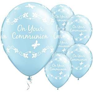 Erstkommunion - blauer Latexballon mit Schmetterlingen - on your communion