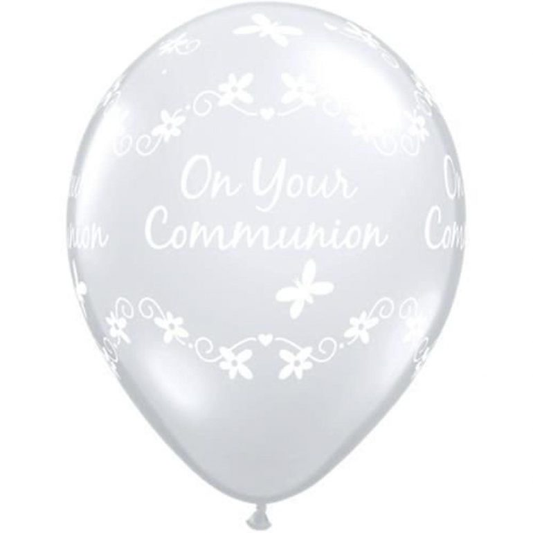 Erstkommunion - on your communion - durchsichtiger Ballon mit weißer Schrift und Schmetterlingen