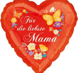 Folienherz 45 cm - Für die liebste Mama