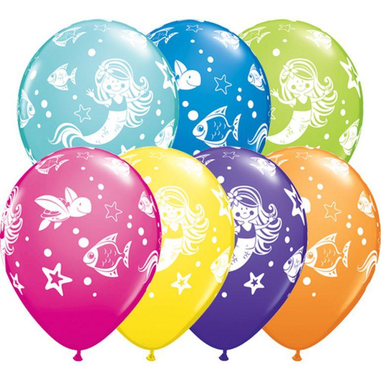 Meerjungfrau mit ihren Freunden - bunte Latexballons
