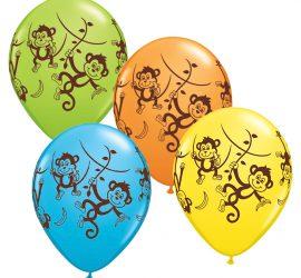 bunte Luftballons mit Affen - Äffchen auf Latexballons