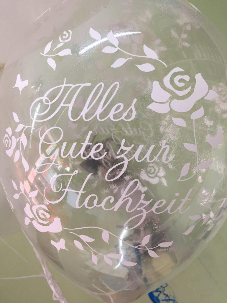 Alles Gute zur Hochzeit - durchsichtiger Latexballon mit weißer Aufschrift