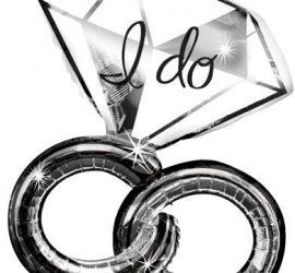 Folienballon Diamantring mit der Aufschrift `I do´ - für Verlobung, Hochzeit