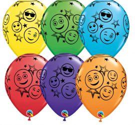Smileyfaces auf Latexballons in bunten Farben