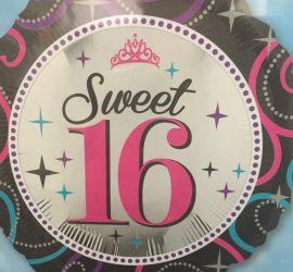 Folienballon Sweet 16 - zum 16. Geburtstag - 45 cm groß