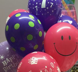 Kindergeburtstag - bunte Latexballons mit verschiedenen Aufdrucken