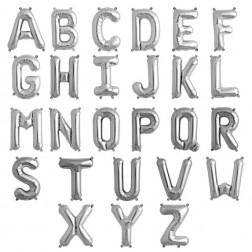 Buchstaben - silber - Folie - 86cm hoch und 66 cm breit - heliumgeeignet