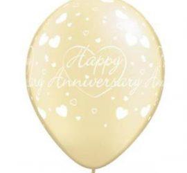Happy Anniversary - Alles Liebe zum Jahrestag - Latexballon champagnerfarben 30 cm