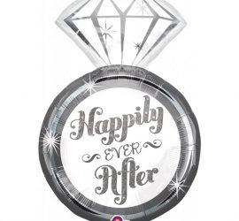 Happily Ever After - Diamantring - Folienballon für die Verlobung oder zur Hochzeit