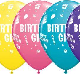 BIRTHDAY GIRL - Latexballon in fünf verschiedenen Farben - zum Geburtstag!