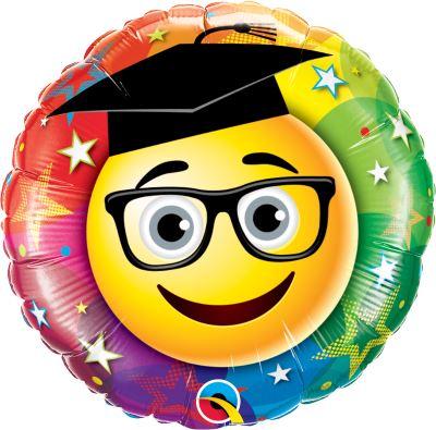 GRADUATE - Folienballon 45 cm - Smiley mit Doktorhut