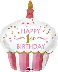 HAPPY 1st BIRTHDAY - Foliencupcake - in rosa/weiß - für die Prinzessin zum 1. Geburtstag
