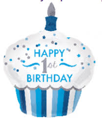Zum 1. Geburtstag - HAPPY 1st BIRTHDAY - für den kleinen Prinzen - Foliencupcake