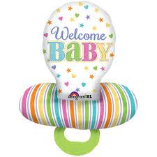 Welcome Baby - ein Folienballon in Schnullerform - farblich passend für Junge und Mädchen