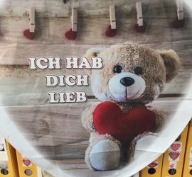 Folienherz `ICH HAB DICH LIEB´, 70 cm, mit Teddybär und Herz