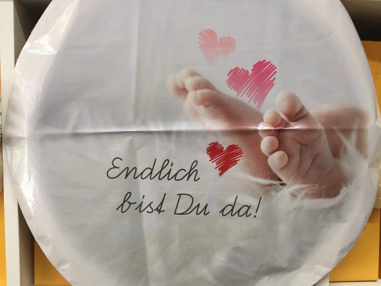 Folienballon `Endlich bist Du da!´ - rosa/weiß zur Geburt eines Mädchens! Babygirl, 45 cm