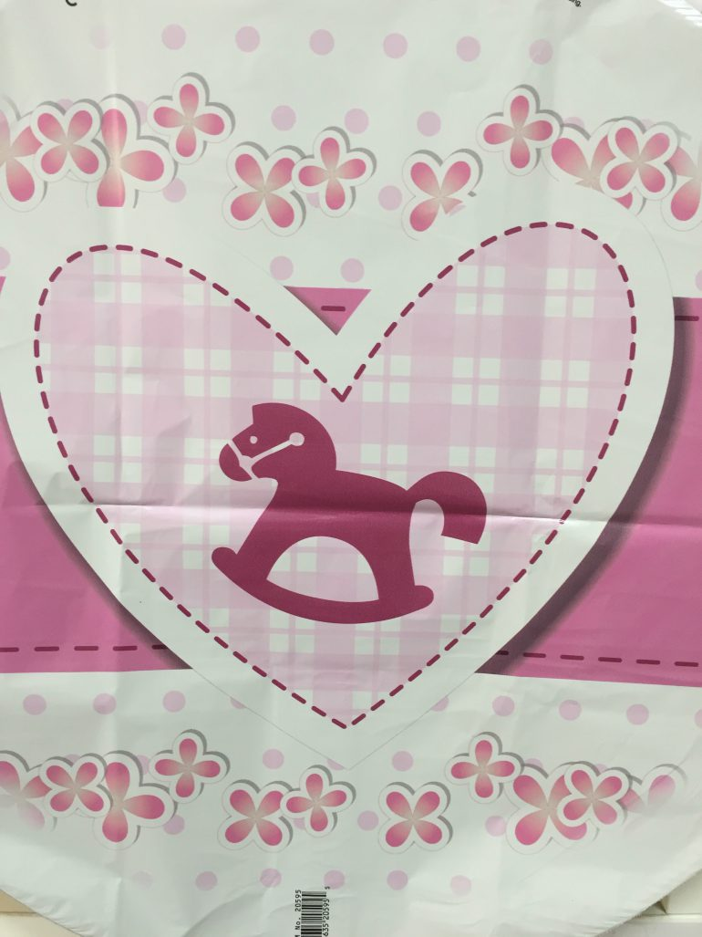 Babygirl - Folienherz in weiß/rosa mit Schaukelpferd - zur Geburt eines Mädchens