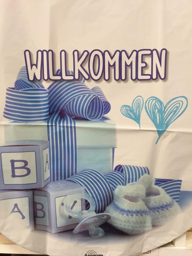 Folienballon WILLKOMMEN - zur Geburt eines Jungen - blau/weiß 45 cm rund, Babyboy