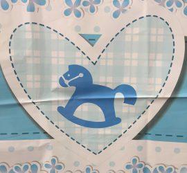 Babyboy - zur Geburt eines Jungen, kleines Folienherz 45 cm mit Schaukelpferd