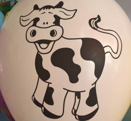 Bauernhoftiere - weißer Latexballon mit Kuh