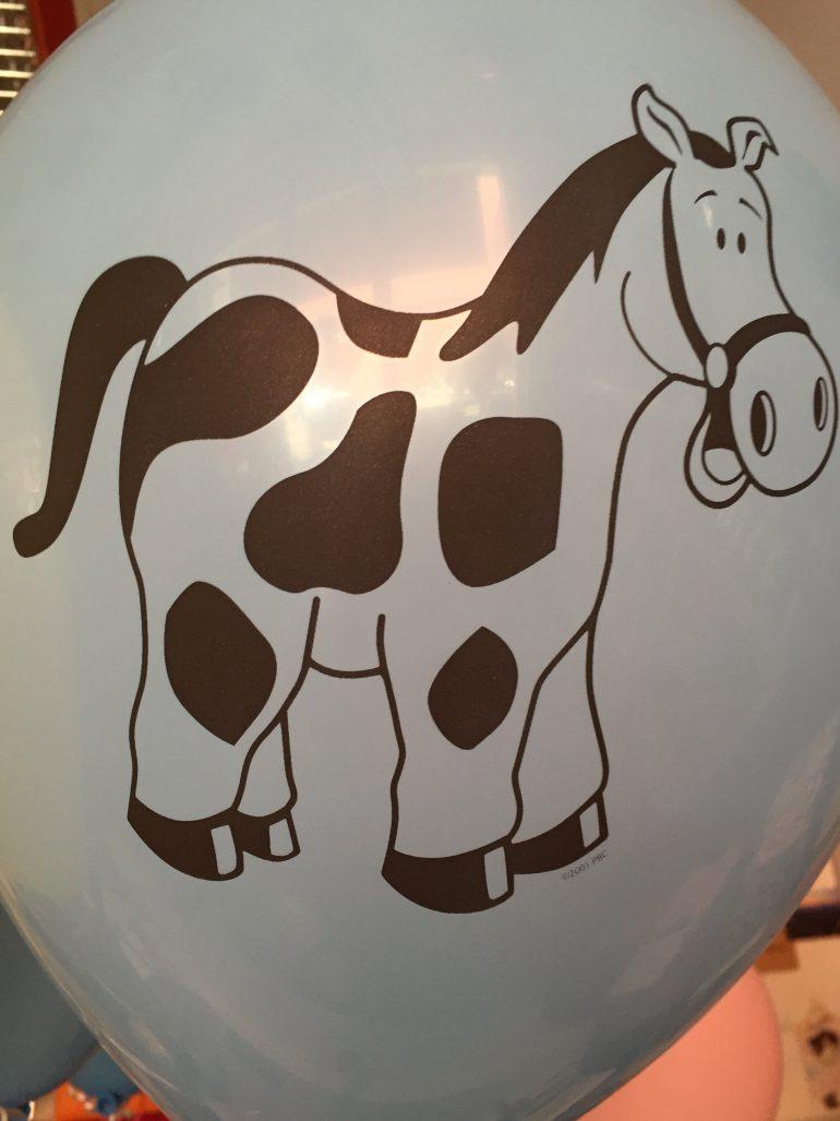 Bauernhoftiere - blauer Latexballon mit Pferd