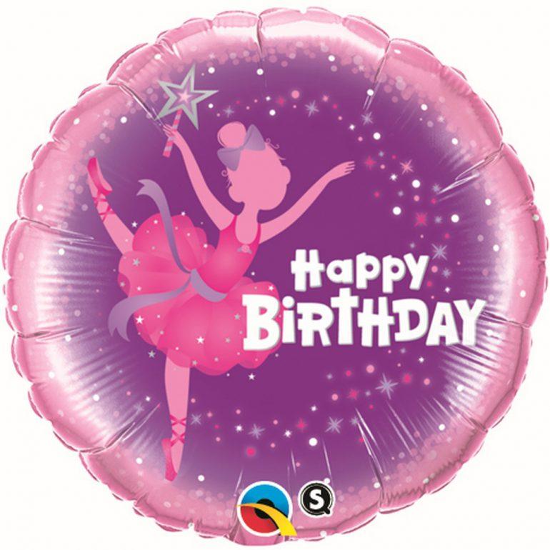 Happy Birthday Folienballon 45 cm rund mit Tänzerin in den Farben pink und lila