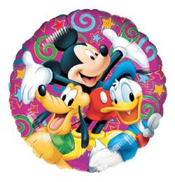 Mickeymouse, Pluto und Donald Duck auf einem runden 45 cm Folienballon, Disney
